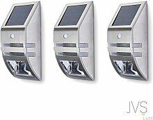 3er SET JVS-LICHT Solarleuchten 0.6W Kaltweiss (6000k) mit Bewegungsmelder Außen LED Solarleuchten Außenleuchte Wandleuchte für Terrasse Zaun Treppen Auffahrt Garten - mit Edelstahl Gehäuse (Silber)