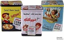 3er Set Kellogg's Nostalgie Vorratsdosen aus Stahlblech 18x10x24 gelb + rosa + blau