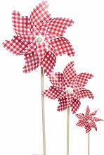 3er Set Klassische Windmühle Garten Stecker mit Rot Weiß Karier