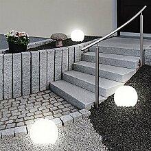 3er Set LED Außen Solar Lampen Kugel Design Erd