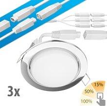3er Set LED Decken-Einbaustrahler RUBA chrom 420lm