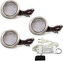 3er Set LED Einbauleuchte Moebelleuchte