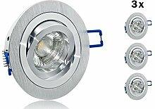 3er Set LED Einbaustrahler GU10 5 Watt Aluminium