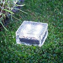 3er Set LED Solar Glas Pflastersteine Wegbeleuchtung weiß groß Lights4fun