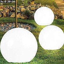 3er Set LED Solar Kugel Lampen Garten Weg Steck