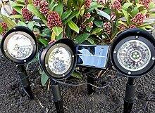 3er Set LED Solarstrahler Garten Strahler Solar