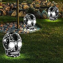 3er Set LED Totenkopf Solar Lampen Außen