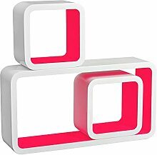 3er Set Lounge Cube Regal, Retro Wandregal Bücherregal, MDF Holz, Weiß-Pink RG9229pk