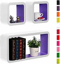 3er Set Lounge Cube Regal, Retro Wandregal Bücherregal, MDF Holz, Weiß-Lila RG9229dla