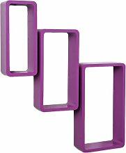 3er Set Lounge Regal Board Purple Lila Design Retro Cube Hängeregal Wandregal