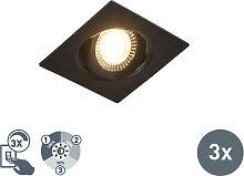 3er Set moderne LED Einbaustrahler schwarz