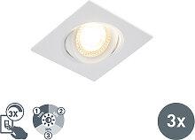 3er Set moderne LED Einbaustrahler weiß 3-stufig