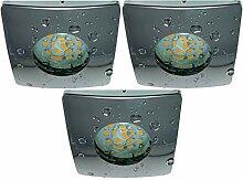 3er Set P44 dimmbare LED Einbaustrahler in Chrom