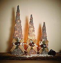 3er Set Rattan Kegel Pyramide Weihnachten beleuchtet | silber glitzernde Weihnachtsdeko | wunderschöne Weihnachtsbeleuchtung für innen | 40 50 und 60 cm hoch | mit Timer Funktion für auto an aus