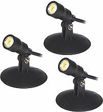 3er Set schwarze LED Teichbeleuchtung Dämmerungssensor Lights4fun