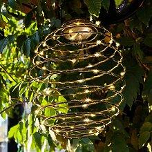 3er Set Solar Hängelaterne Spirale mit 45 warmweißen Micro LEDs Lights4fun