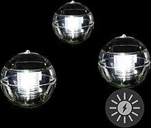 3er Set Solar Schwimmkugel 2 LED weiß Solarlampe Kugel 12 x 12 x 12,5 cm Teichbeleuchtung Solarkugel Dekolicht Solarbeleuchtung