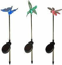3er Set Solar Stableuchten Gartendeko Libelle Kolibri Schmetterling Lights4fun