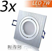 3er Set STAR SILBER Q 230V LED SMD 7W Warmweiss Decken Einbaustrahler Einbauspots Deckenspots (Aluminium-gebürstet) inkl. GU10 Fassung mit 15cm Anschlusskabel