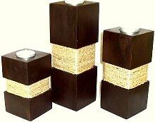 3er Set Teelichthalter Akazienholz mit Kordel
