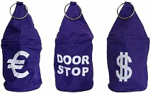 3er Set Türstopper Tür Stop Sack Hülle EURO DOOR STOP DOLLAR lila
