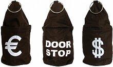 3er Set Türstopper Tür Stop Sack Hülle EURO DOOR STOP DOLLAR braun