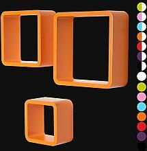 3er Set Wandregal Schweberegale Lounge Cube Regal Retro Bücherregal MDF Holz DIY Orange RG9282or