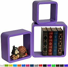 3er Set Wandregal Schweberegale Lounge Cube Regal Retro Bücherregal MDF Holz DIY Lila RG9282la