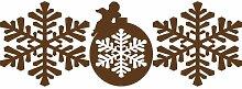 3er Set Weihnachts-Sticker 20 cm Farbe Brown Christmas Schneeflocken Aufkleber, Sticker Christbaumkugeln , Weihnachten Aufkleber, Yule , Fenster Aufkleber, Wandaufkleber, Vinyl -Aufkleber Schneeflocke , Engel ThatVinylPlace