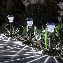 3er Set weiße LED Solar Leuchte Edelstahl
