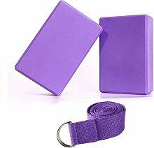 3er-Set Werkzeuge (2 Yoga Bricks, 1 Yoga Straps)