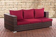 3er Sofa Provence-braunmeliert-Rubinrot