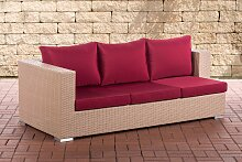 3er Sofa Provence-sand-Rubinrot