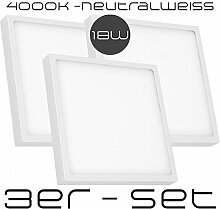 3er Sparset - 18W LED Aufbaustrahler Ultra Flach -
