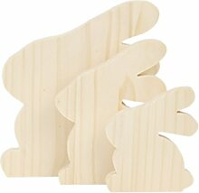 3er Sparset sitzende Osterhasen Holz Decoupage
