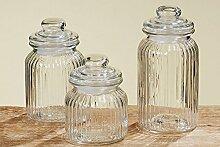 3er Universale Vorratsdose Glasdose Vorratsglas H15/19/23cm 8407700