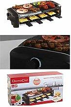 3in1 Raclette-Grill mit heißen Stein und Alu-Grillplatte (Elektrogrill, 1400 Watt, für 8 Personen, Steingrill aus Granit, Party-Grill)