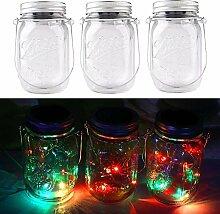3packs Solar Mason Jar Licht - Maurer Glas LED