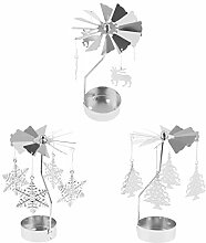 3pcs Drehende Kerzenhalter Kerzenständer Teelicht
