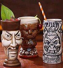 3PCS-Tiki Keramik-Becher, Cocktailbecher Keramik
