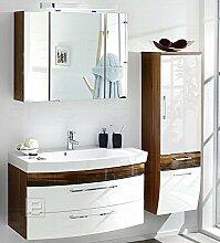 3tlg Badmöbel Bad-Set Waschplatz Badezimmer Hochglanz weiß - Walnuss Dekor