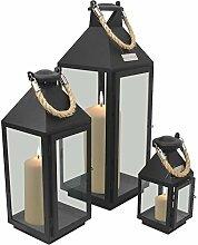 3tlg. Modisches Laternen-Set in Schwarz H24/41/55cm Metalllaterne Gartenlaterne Laterne Windlicht mit Aufhängung Metallgestell mit Glasfenstern Kerzenhalter Gartenbeleuchtung Dekoration