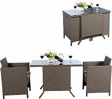 3tlg.Polyrattan Sitzgruppe Lounge Set