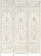 3tlg. Raumteiler Handgeschnitzt Weiß 120×165cm