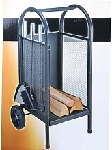 3tlg. Rollbarer Kaminholzwagen Kaminholzkorb Kaminbesteck Kamingarnitur mit Schaufel Bürste Haken