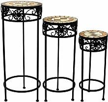 3tlg. Set Mosaik Beistelltische rund Blumenhocker Blumenständer Pflanzenständer Mosaiktisch Hocker / Motiv: Quadra