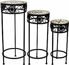 3tlg. Set Mosaik Beistelltische rund Blumenhocker Blumenständer Pflanzenständer Mosaiktisch Hocker / Motiv: Stern
