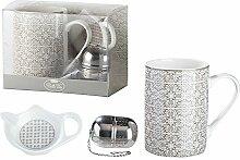 3tlg.Teeset aus Porzellan Grey Ornament Teetasse