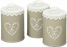 3tlg. Vorratsdose LORIN beige weiß aus Metall Landhaus für Kaffee Tee und Zucker
