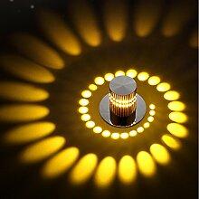 3W LED Korridor Deckenstrahler Einbaustrahler Schwenkbar Licht Aluminium Deckenspots Einbaustrahle Einbauspots für Wohnzimmer Schlafzimmer Treppe Ganglichter Flur Korridor Gang Gelb (1)